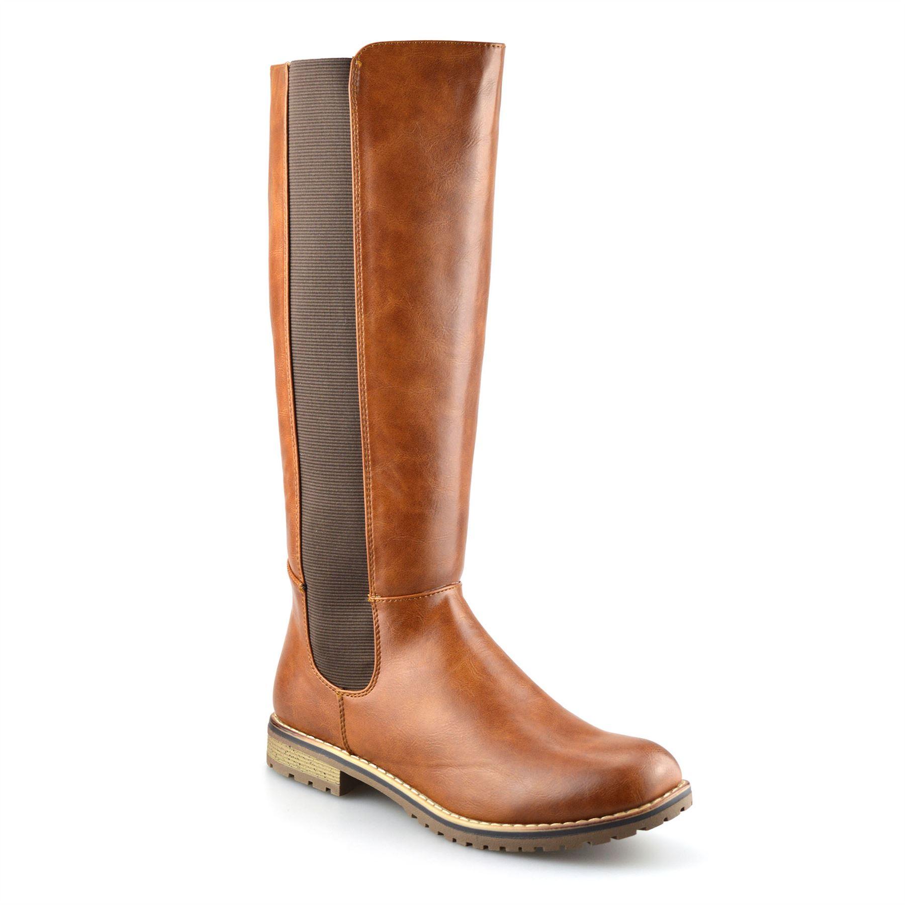 Ladies Womens Knee High Flat Heel Zip Up Winter Riding Biker Boots Shoes Size