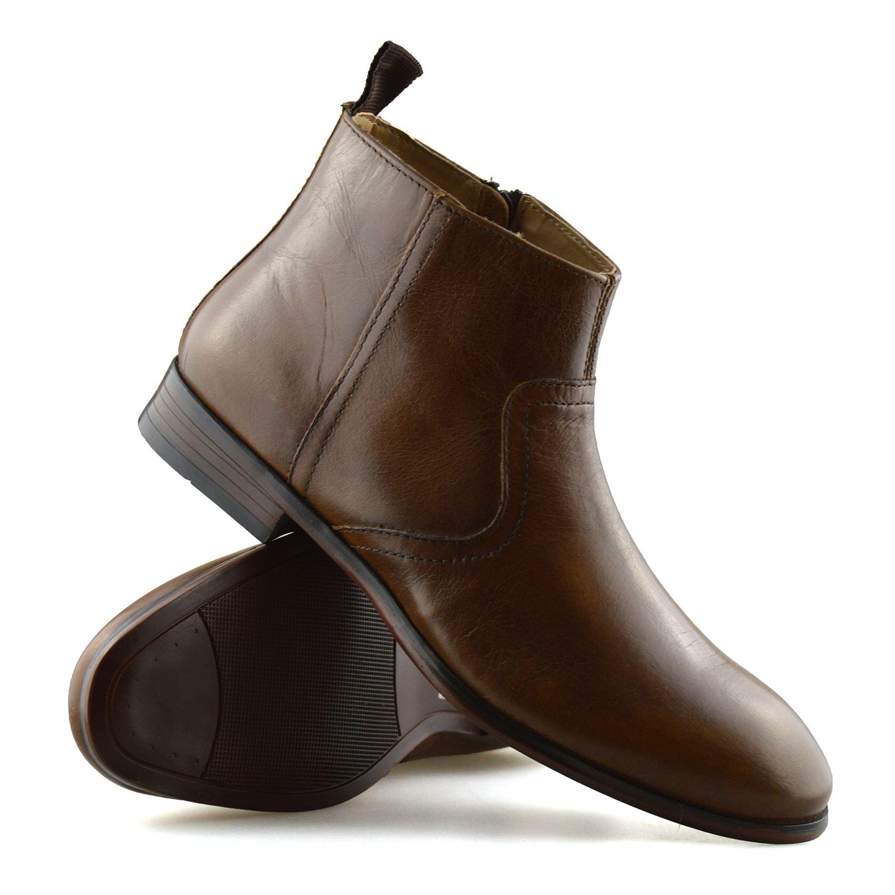 Hombre-Nuevo-Cuero-Cremallera-Formal-Smart-Trabajo-Distribuidor-Chelsea-Botas-al-Tobillo-Zapatos miniatura 21