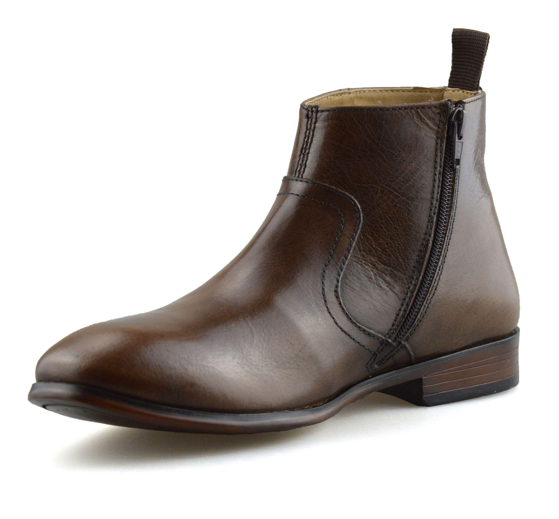 Hombre-Nuevo-Cuero-Cremallera-Formal-Smart-Trabajo-Distribuidor-Chelsea-Botas-al-Tobillo-Zapatos miniatura 26