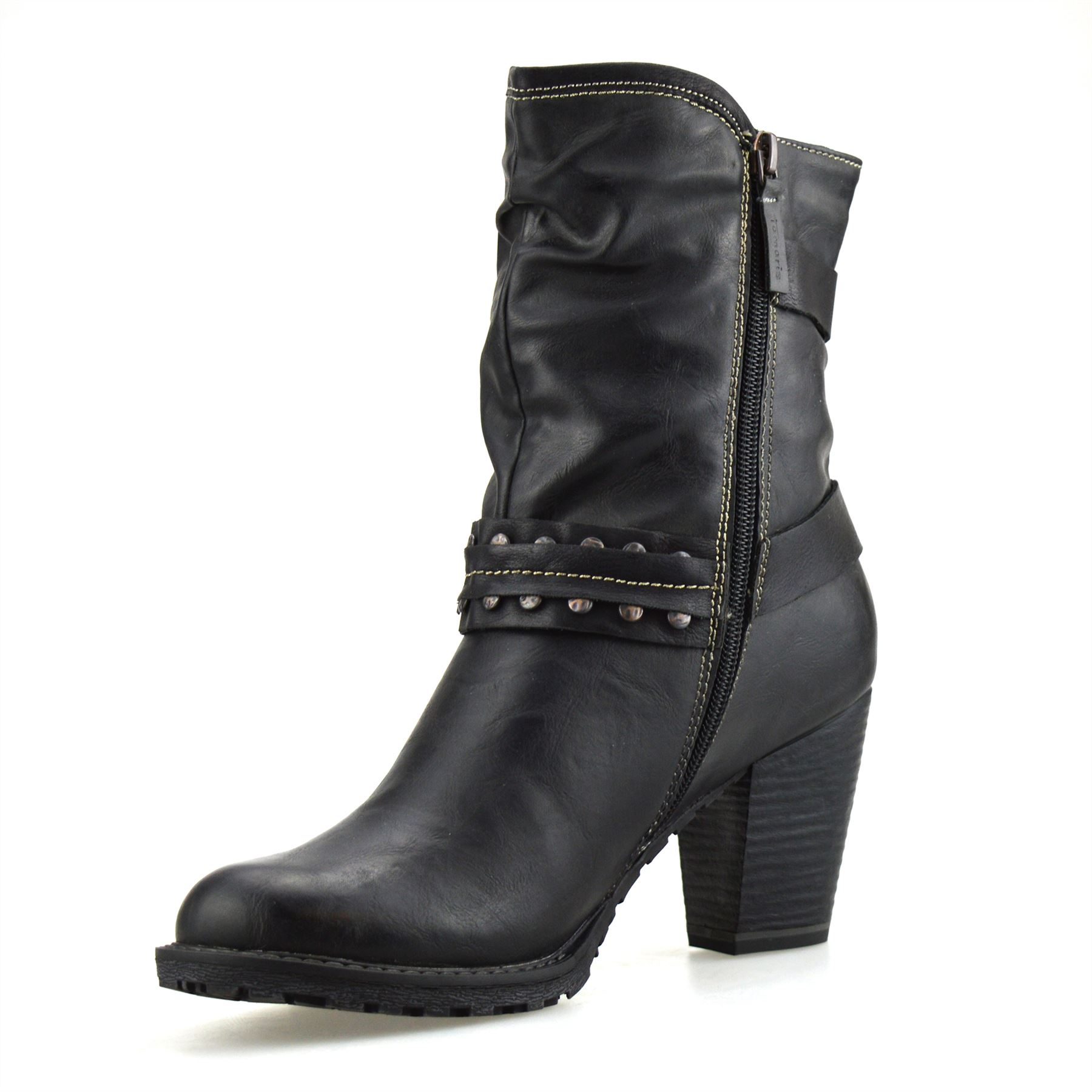 ladies womens mid block heel buckle zip up ankle cowboy biker boots shoes size ebay. Black Bedroom Furniture Sets. Home Design Ideas