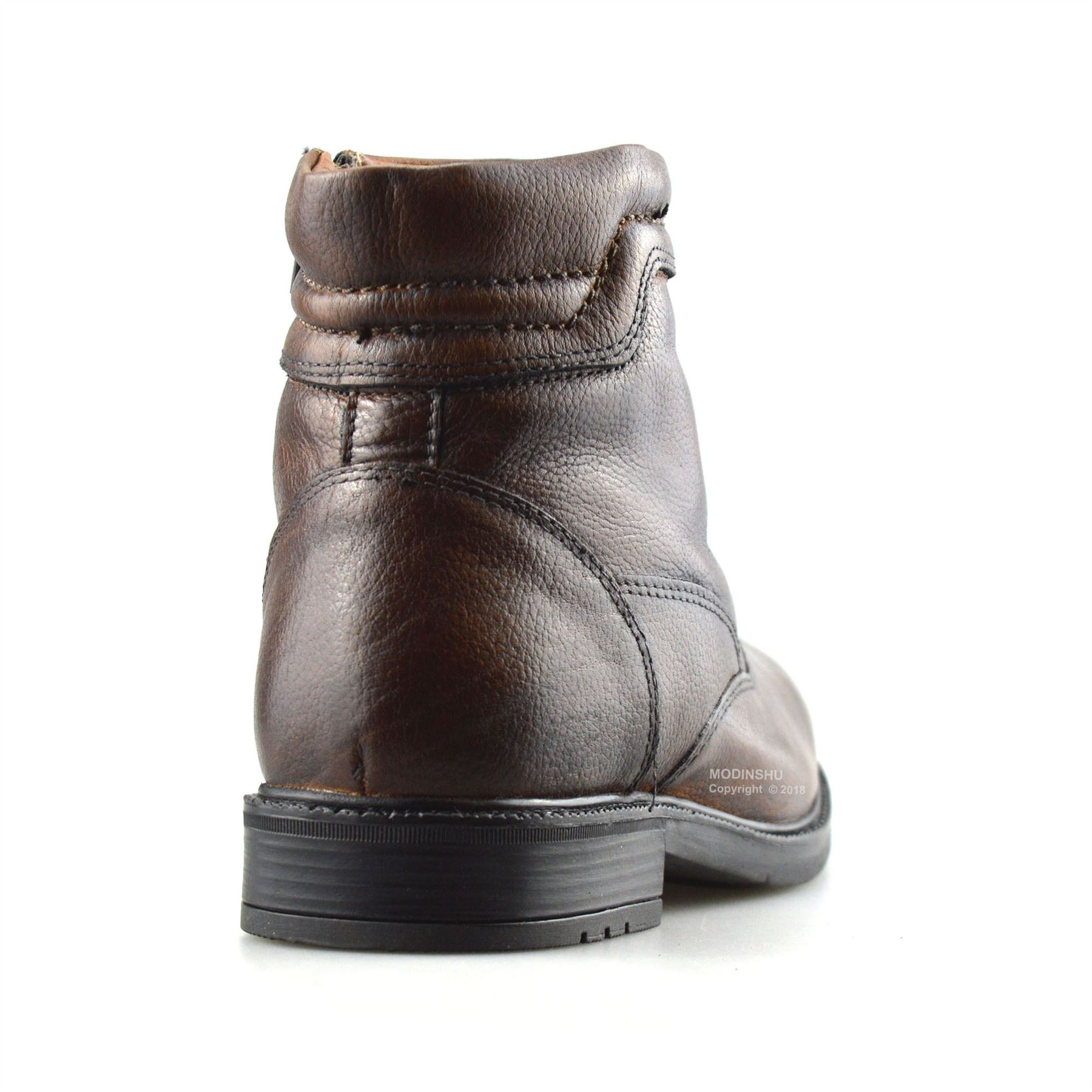 Mens Leather Zip Up Casual Walking Warm Fur Ankle Chelsea Biker Boots Shoes Size
