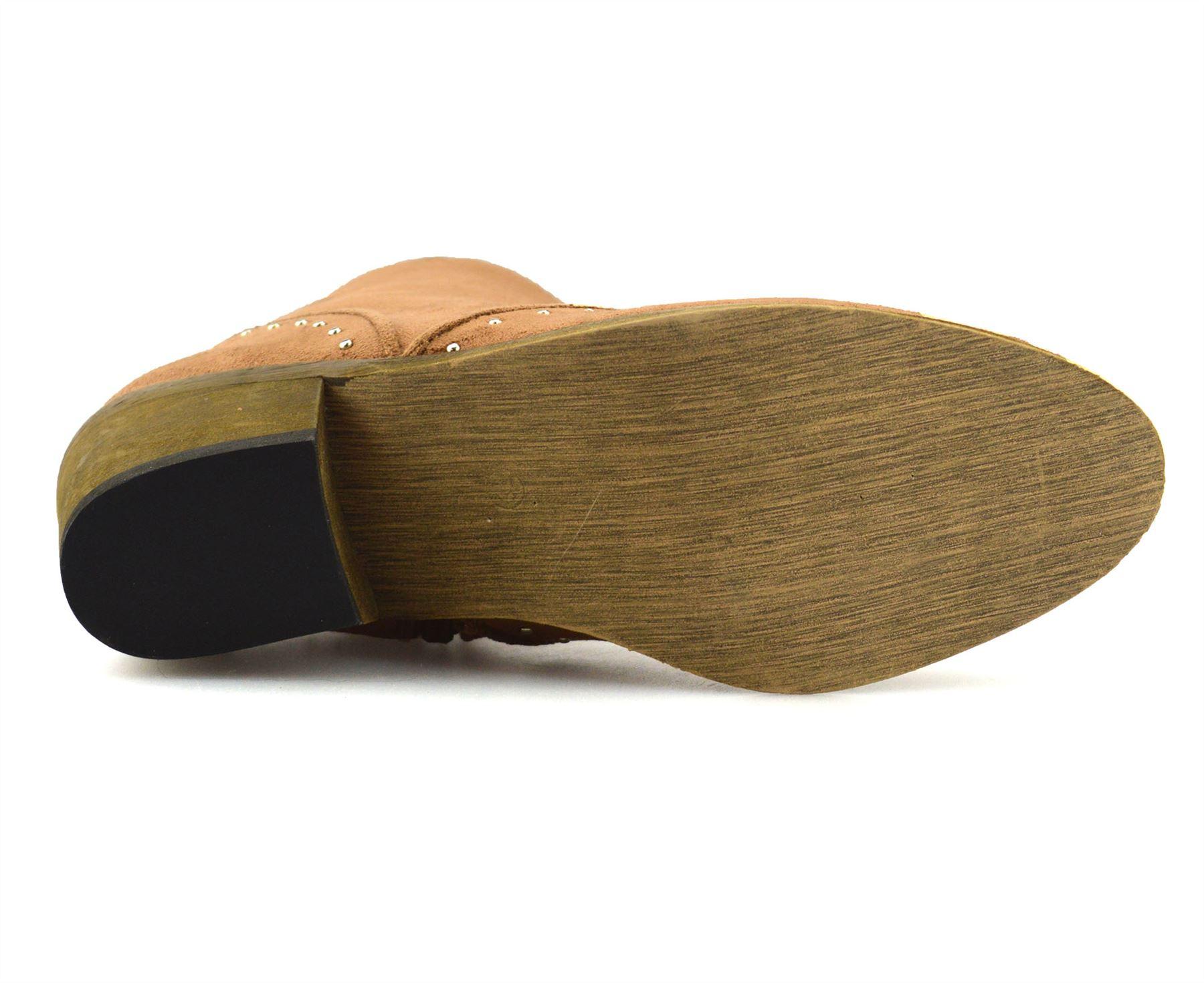 Ladies-Womens-Suede-Mid-Block-Heel-Zip-Up-Ankle-Cowboy-Biker-Boots-Shoes-Size thumbnail 21