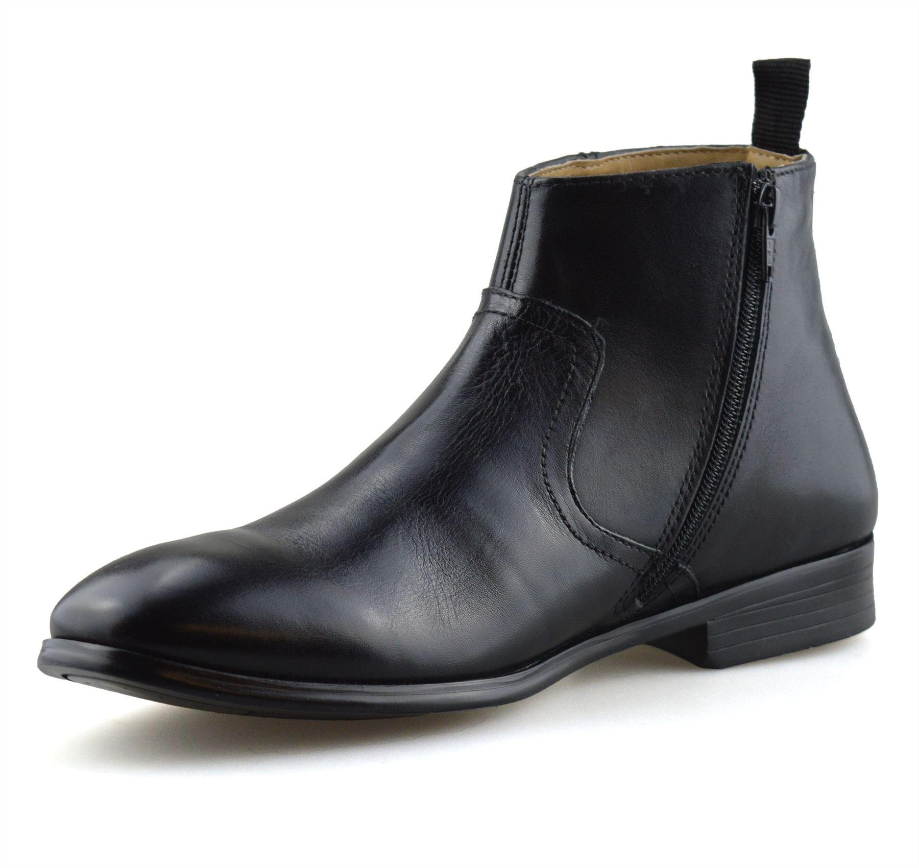 Hombre-Nuevo-Cuero-Cremallera-Formal-Smart-Trabajo-Distribuidor-Chelsea-Botas-al-Tobillo-Zapatos miniatura 14