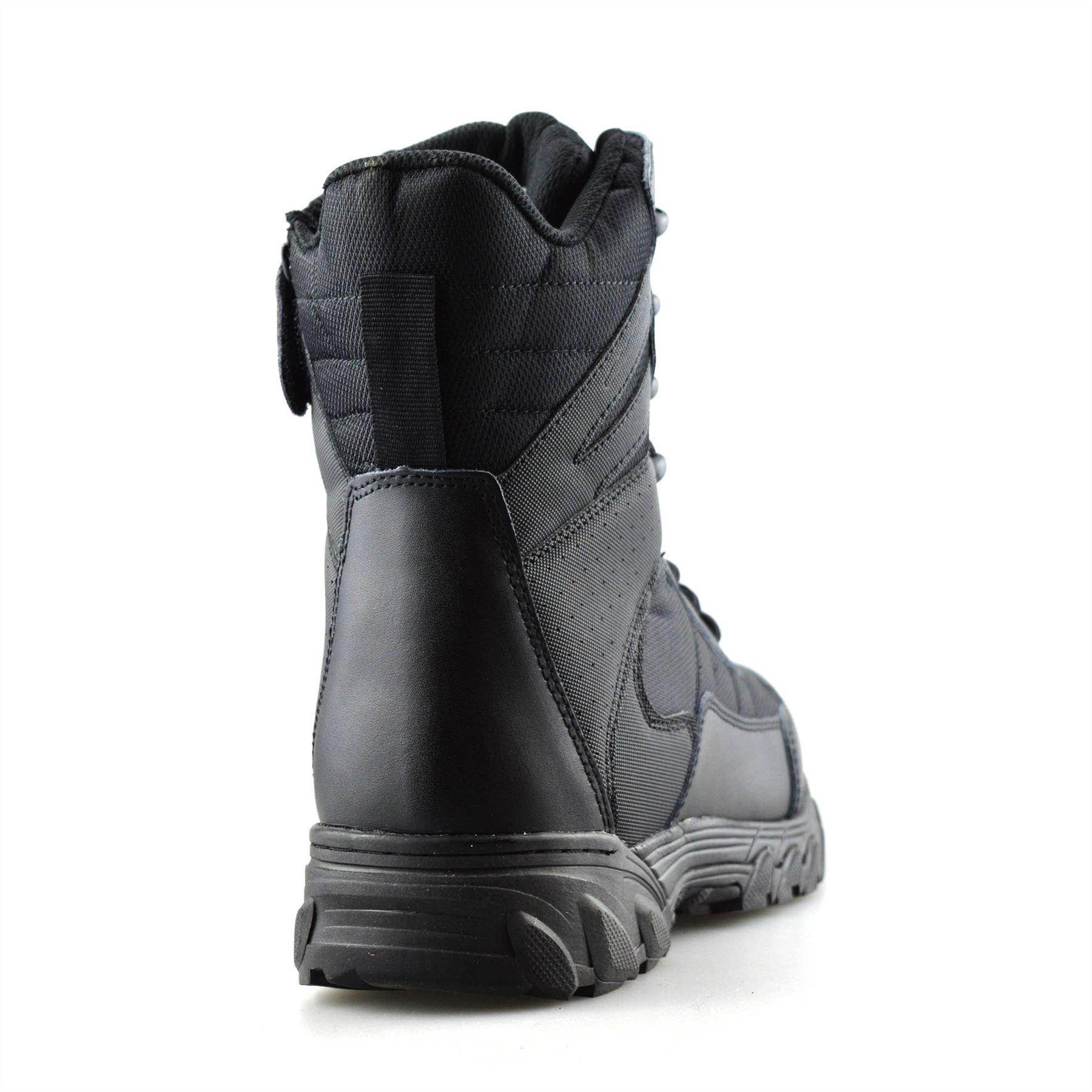 Homme-en-cuir-neuve-Militaire-Armee-Combat-Marche-Travail-Fermeture-Eclair-Cheville-Bottes miniature 11