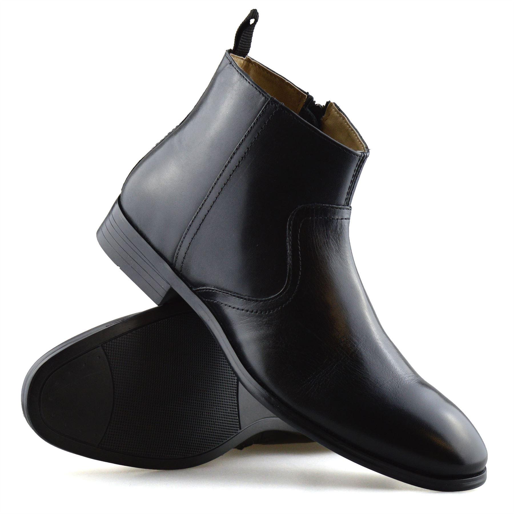 Hombre-Nuevo-Cuero-Cremallera-Formal-Smart-Trabajo-Distribuidor-Chelsea-Botas-al-Tobillo-Zapatos miniatura 15