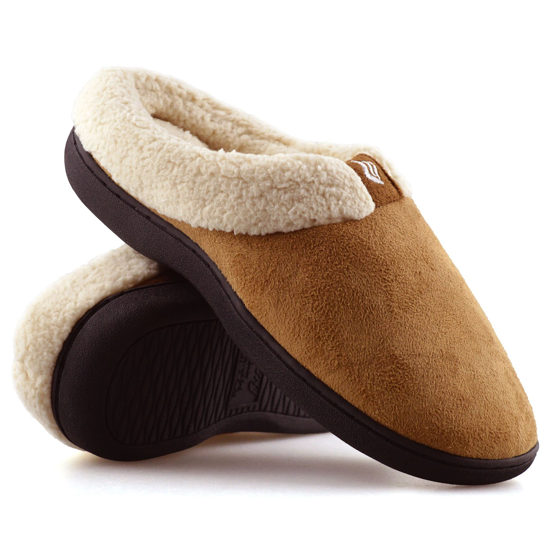 Details zu Ladies Womens Memory Foam Warm Faux Suede Slippers Slip On Clog Mules Shoes Size