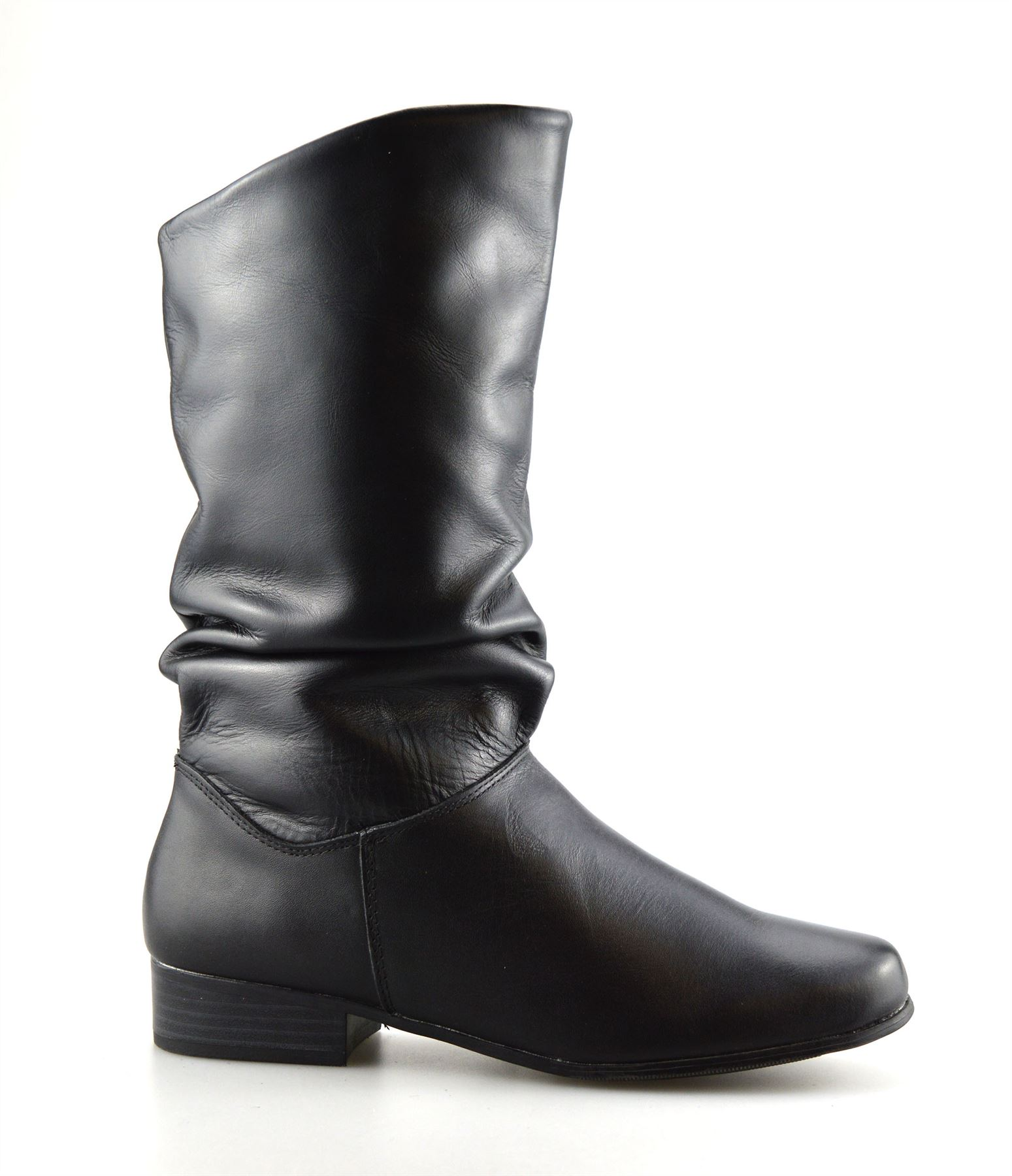 e4585767e79 Details about Ladies Womens New Leather Mid Calf Low Flat Heel Slouch  Riding Boots Shoes Size