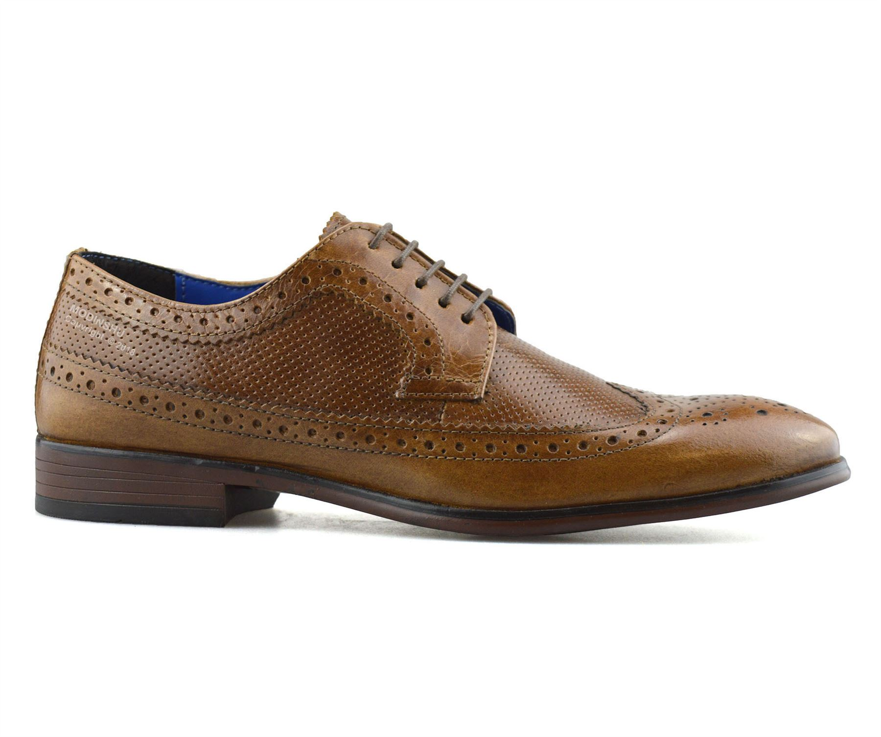 Mens-Leather-Brogues-Smart-Casual-Formal-Office-Lace-Up-Oxford-Brogue-Shoes-Size thumbnail 13