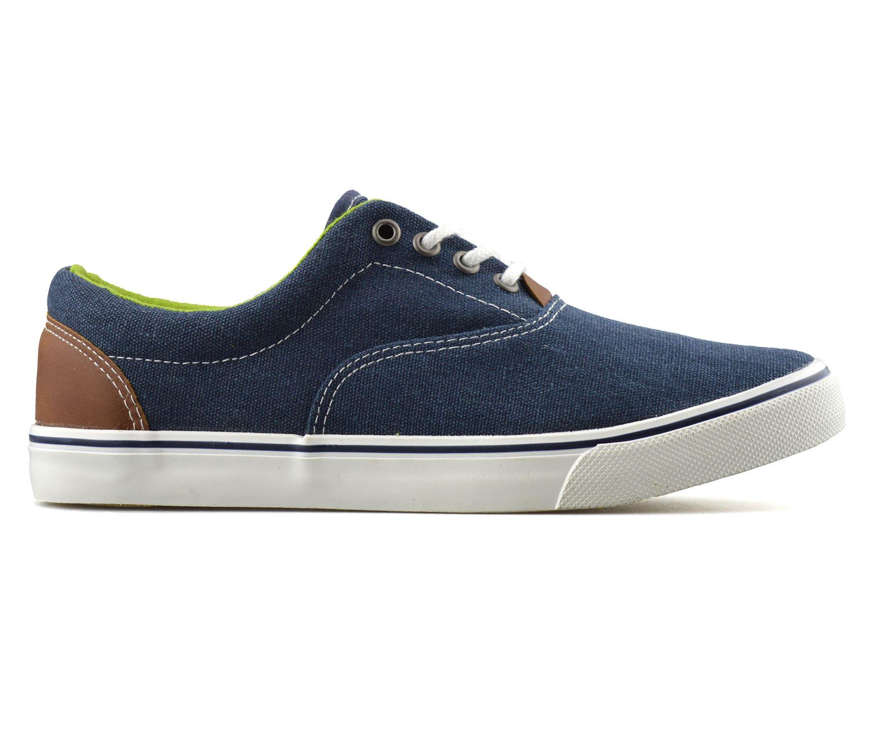Mens-Casual-Flat-Lace-Up-Canvas-Skate-Pumps-Walking-Plimsolls-Trainers-Shoe-Size thumbnail 13