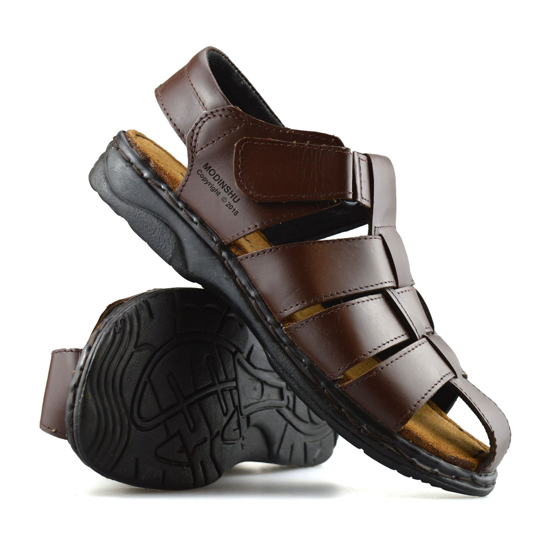 83f78e220688 Mens Leather Walking Touch Strap Summer Beach Mules Gladiator ...
