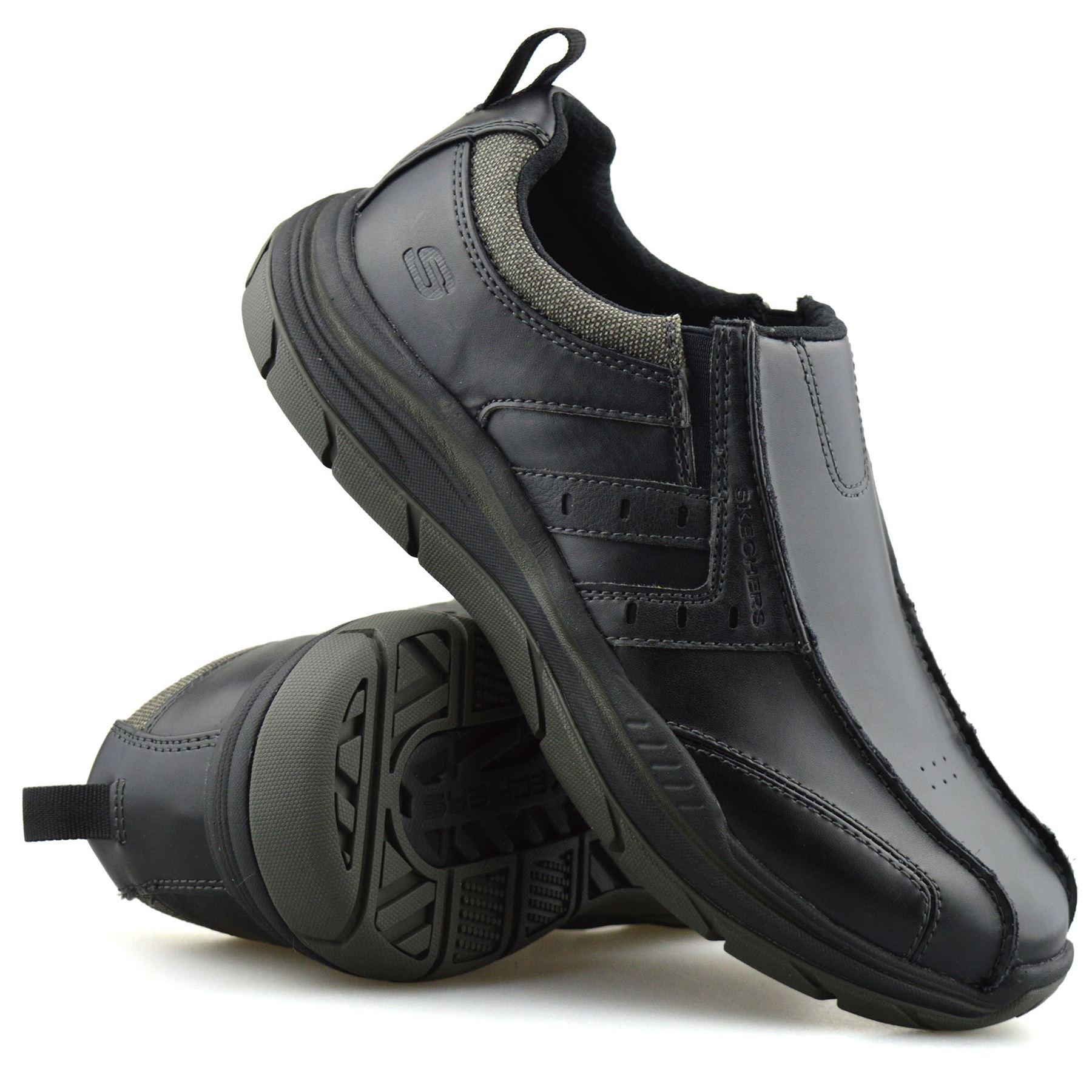 Mens Skechers Leather Wide Fit Slip On