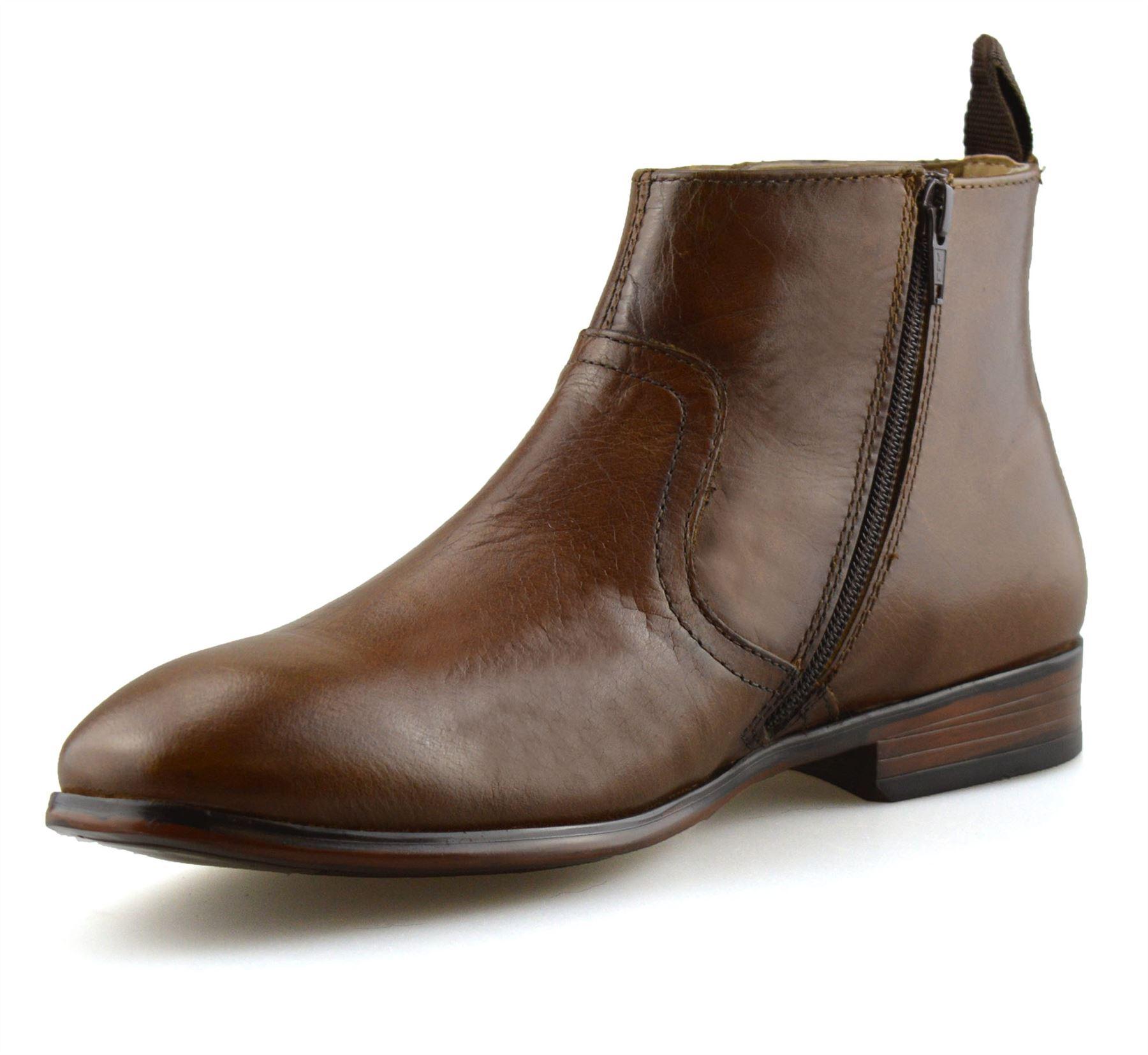 Hombre-Nuevo-Cuero-Cremallera-Formal-Smart-Trabajo-Distribuidor-Chelsea-Botas-al-Tobillo-Zapatos miniatura 20