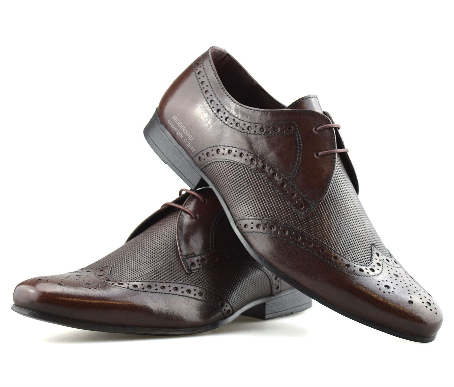 Mens-Leather-Lace-Up-Brogues-Smart-Formal-Office-Casual-Oxford-Brogue-Shoes-Size thumbnail 14