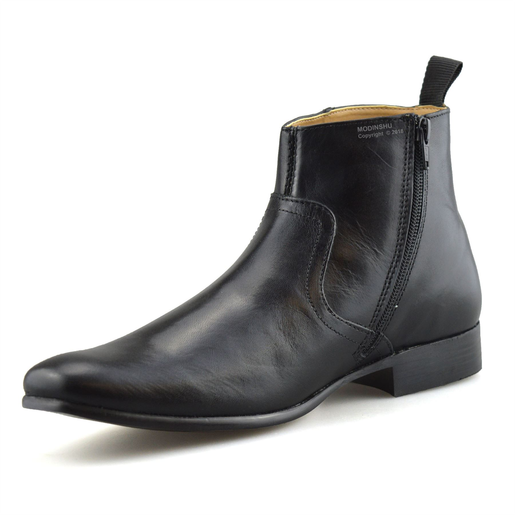 Mens-New-Leather-Zip-Up-Smart-Formal-Chelsea-Dealer-Work-Ankle-Boots-Shoes-Size thumbnail 13