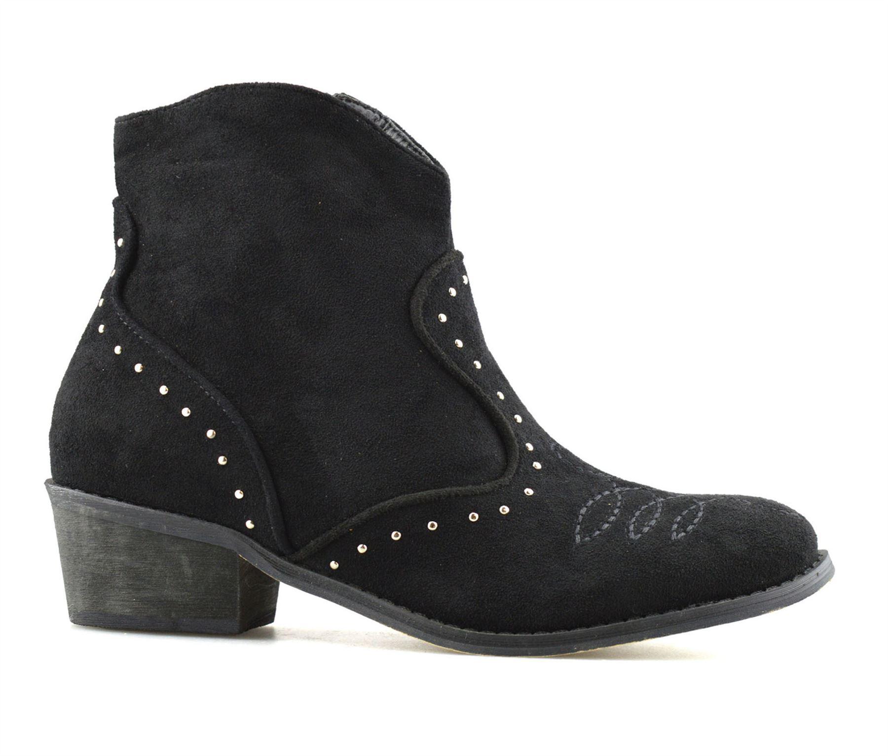 Ladies-Womens-Suede-Mid-Block-Heel-Zip-Up-Ankle-Cowboy-Biker-Boots-Shoes-Size thumbnail 13