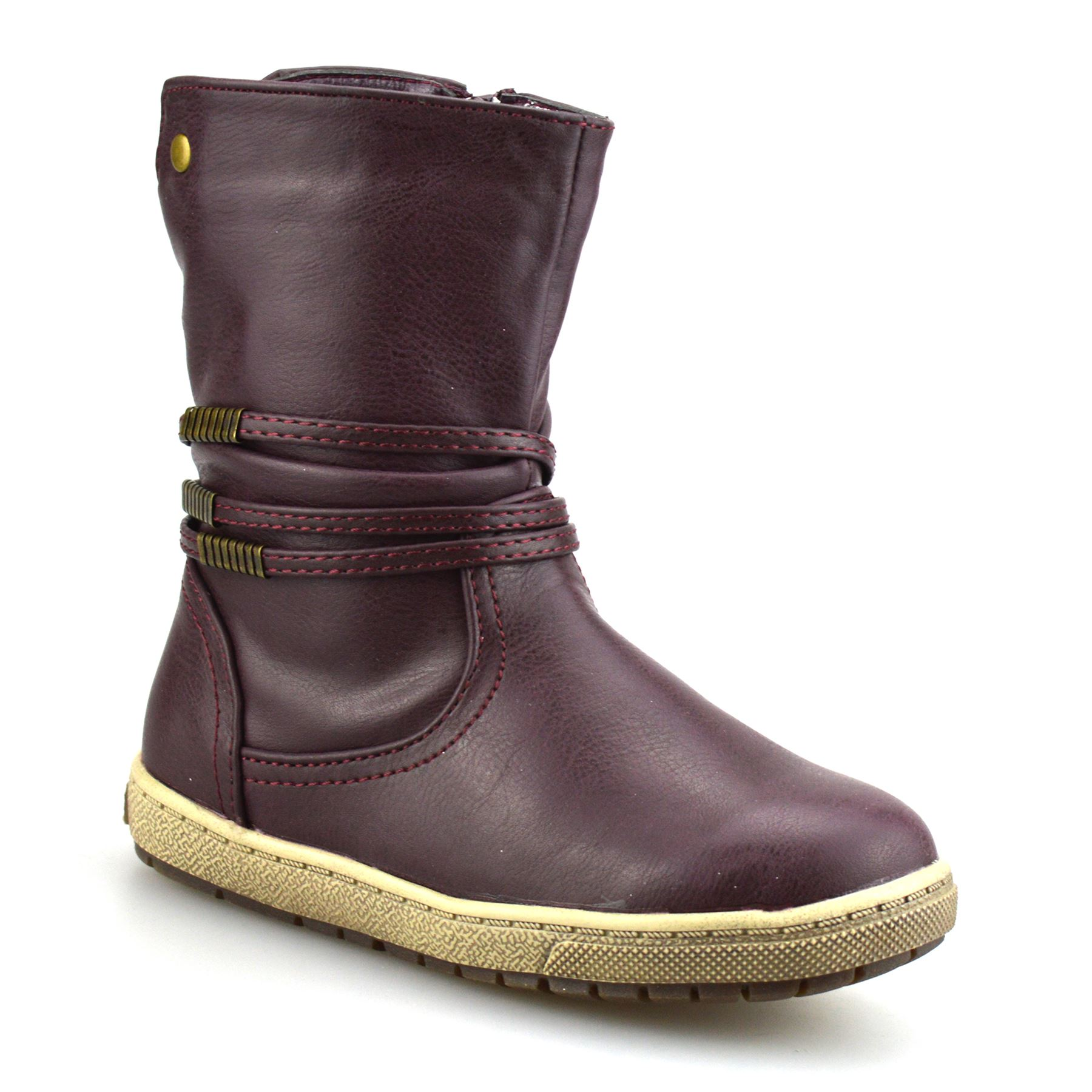 Girls Kids Childrens Infants Zip Up Biker Casual School Ankle Boots Shoes Size