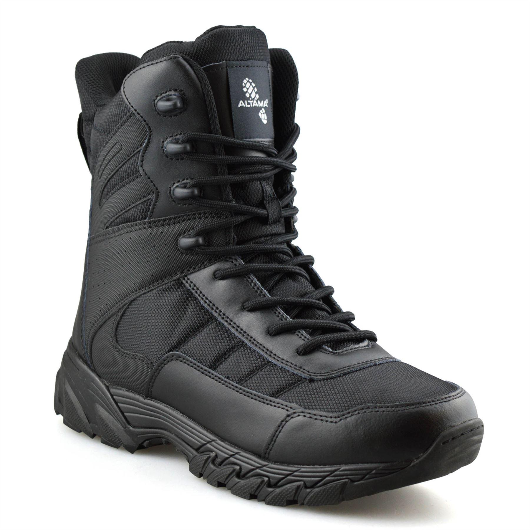 Homme-en-cuir-neuve-Militaire-Armee-Combat-Marche-Travail-Fermeture-Eclair-Cheville-Bottes miniature 9