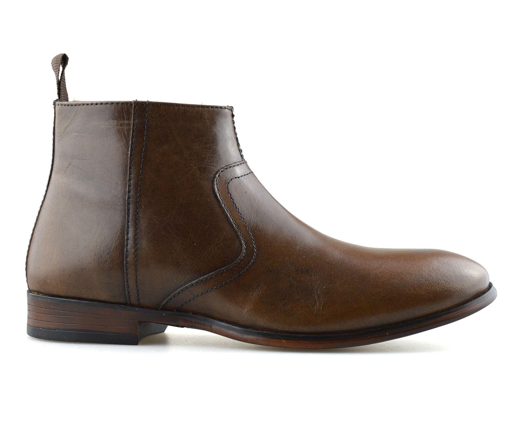 Hombre-Nuevo-Cuero-Cremallera-Formal-Smart-Trabajo-Distribuidor-Chelsea-Botas-al-Tobillo-Zapatos miniatura 24