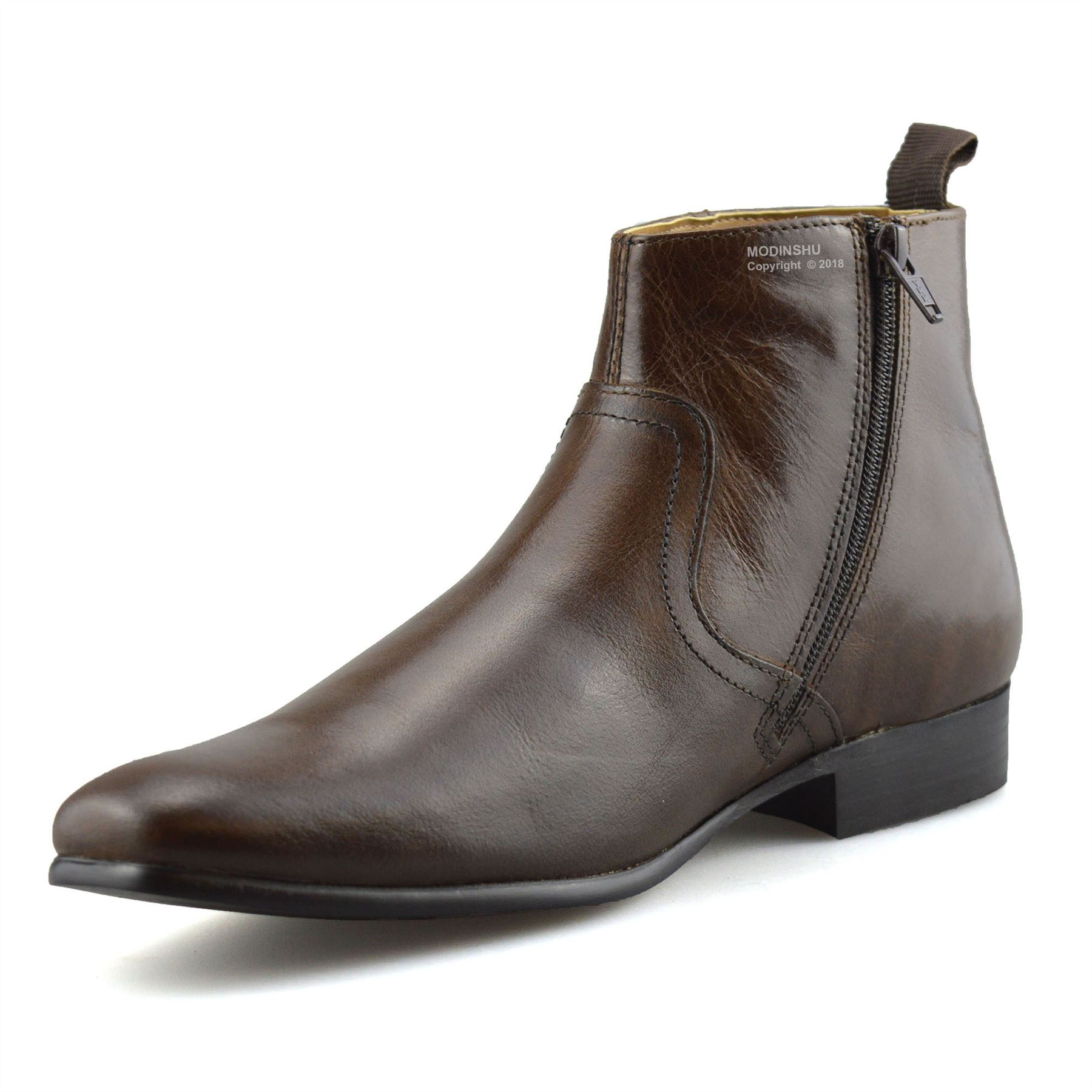 Mens-New-Leather-Zip-Up-Smart-Formal-Chelsea-Dealer-Work-Ankle-Boots-Shoes-Size thumbnail 19
