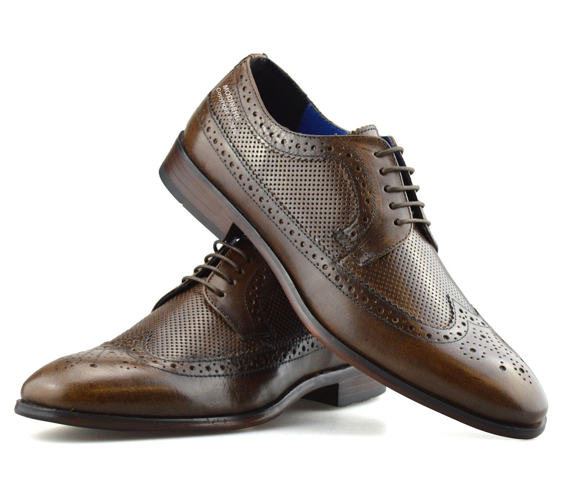 Mens-Leather-Brogues-Smart-Casual-Formal-Office-Lace-Up-Oxford-Brogue-Shoes-Size thumbnail 25
