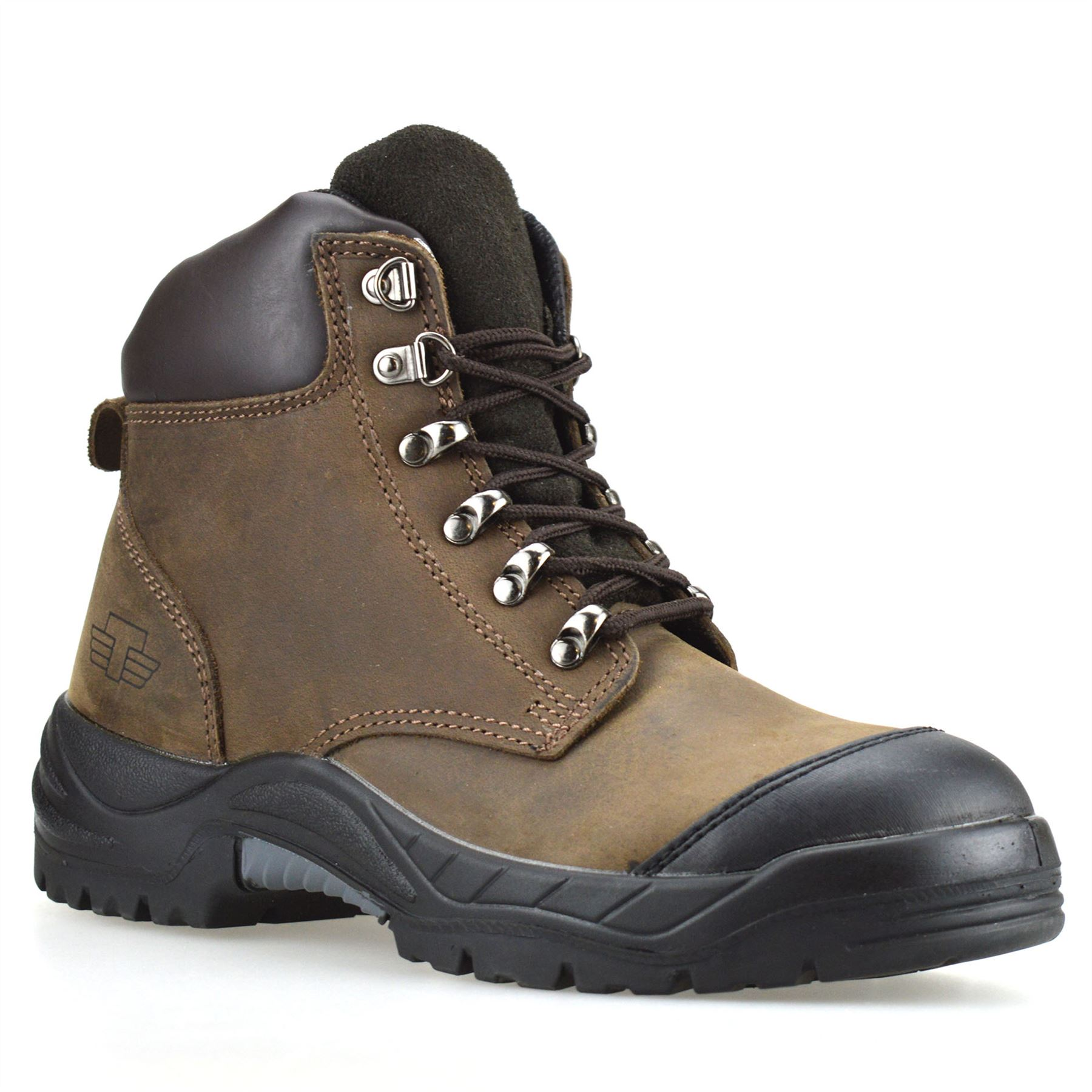 Mens New Leather Combat Safety Steel Toe Cap Work Ankle