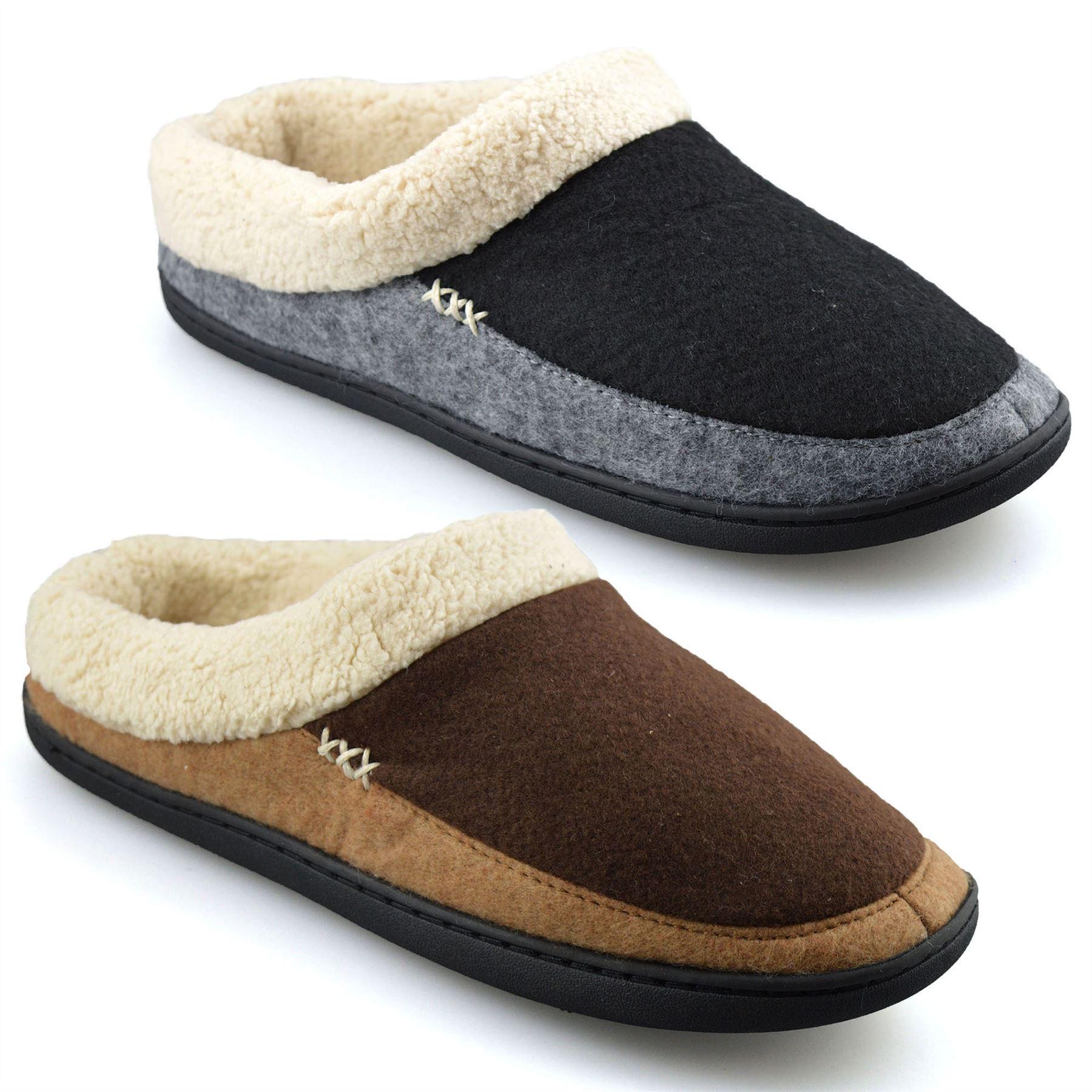 Details zu Mens Memory Foam Warm Faux Suede Fleece Slippers Slip On Clog Mules Shoes Size