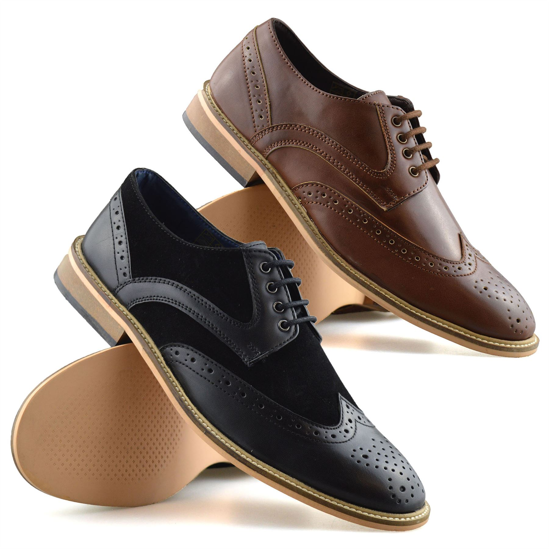 Mens Casual Smart Lace Up Oxford Brogue Walking Work Office Trainers Shoes Size