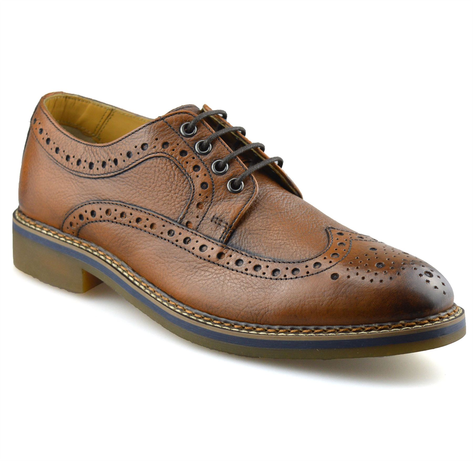 Mens-New-Ikon-Leather-Casual-Smart-Lace-Up-Oxford-Brogues-Work-Office-Shoes-Size thumbnail 13