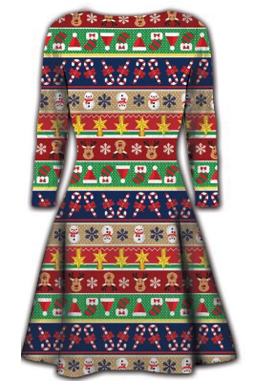 Women-Ladies-Kids-Girls-Xmas-Santa-Gifts-Christmas-Print-Skater-Mini-Swing-Dress thumbnail 12