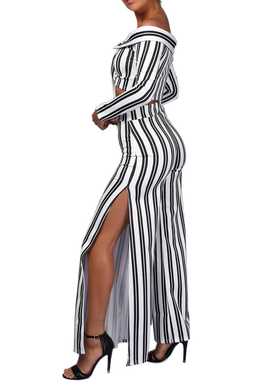 Womens-Ladies-Palazzo-Spilt-Wide-Leg-Off-Shoulder-Stripe-Tie-Bardot-Co-Ord-Set thumbnail 3
