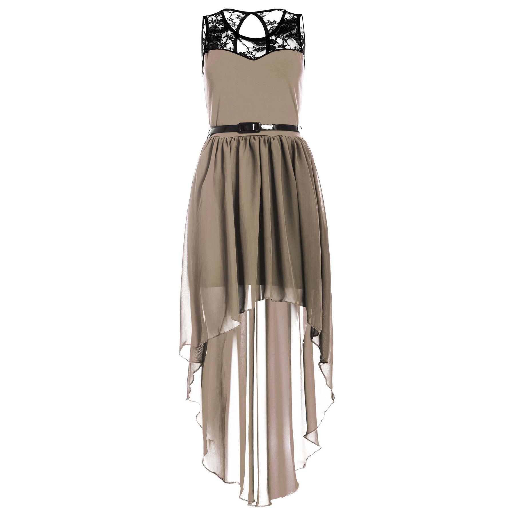 Womens-Lace-Chiffon-Ladies-High-Low-Dip-Hem-Assymetric-Belted-Mixi-Midi-Dress