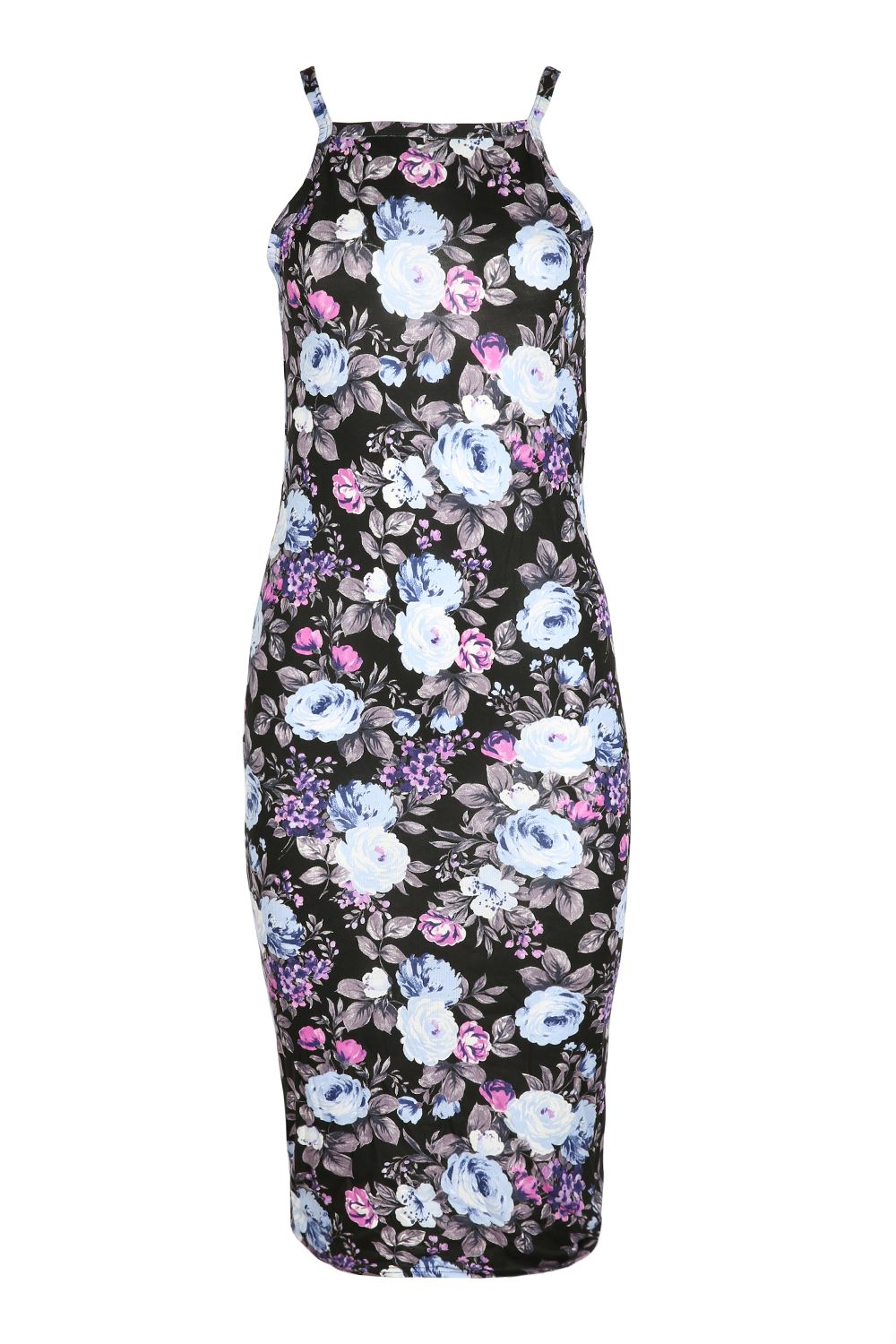 Womens Floral Flower High Neck Bodycon Dress Ladies Thin ...