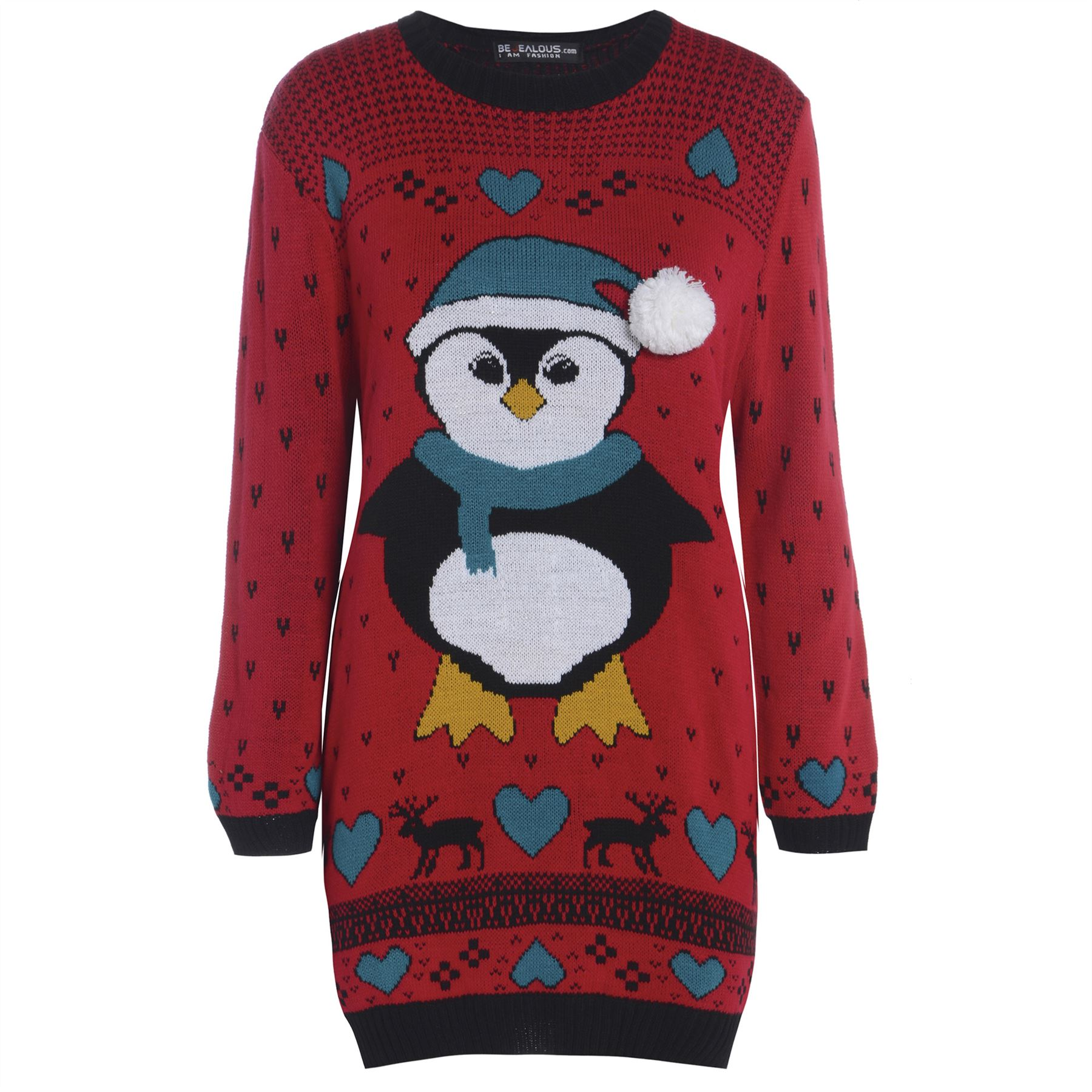 Christmas Penguin Jumper Knitting Pattern : Womens Ladies Snowman Xmas Christmas Tree Knitted Dress Sweater Long Jumper T...