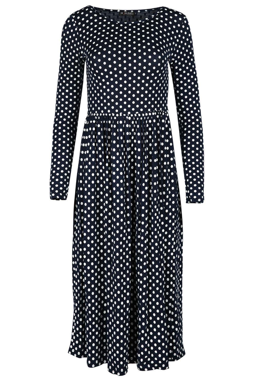 Womens Midi Dress Ladies Franki Long Sleeves Swing Flared