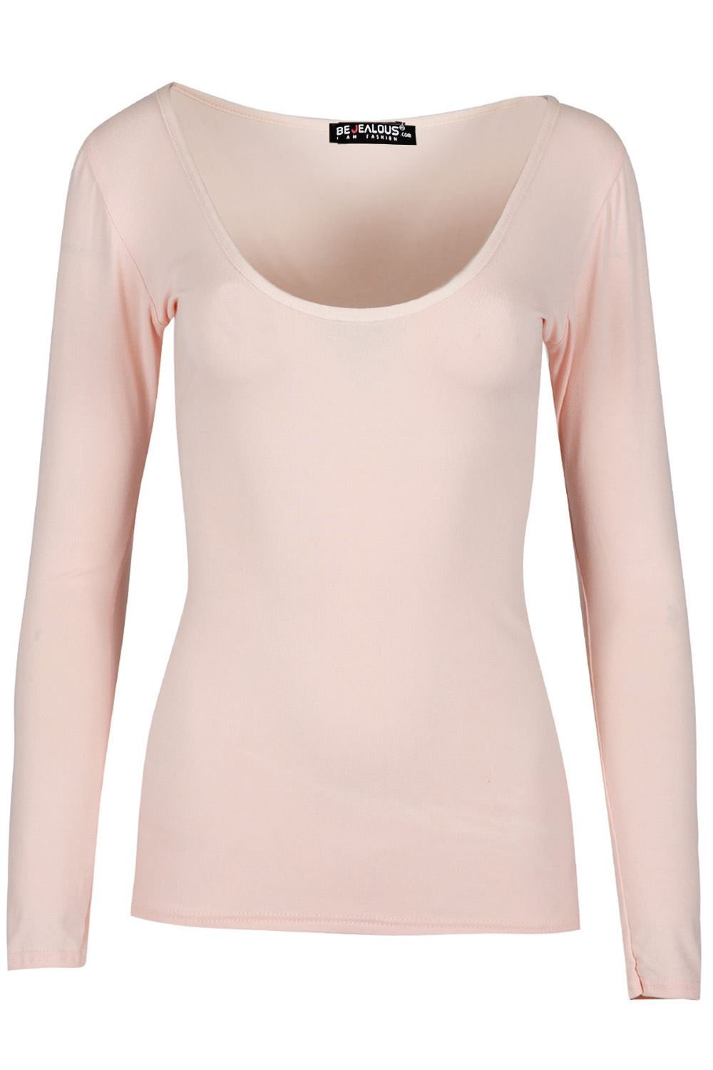 New-Womens-Ladies-Deep-V-Neck-Slim-Fit-Basic-Long-Sleeve-Stretch-Tee-T-shirt-Top