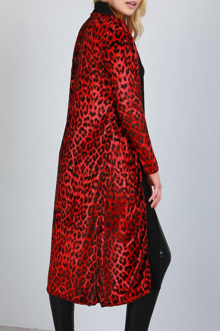 Womens Ladies Long Sleeve Velvet Velour Leopard Print Open Front Blazer Cardigan