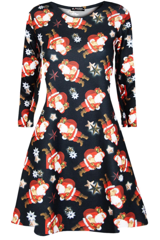Womens-Xmas-Ladies-Santa-Snowman-Reindeer-Flare-Christmas-Smock-Swing-Mini-Dress thumbnail 3