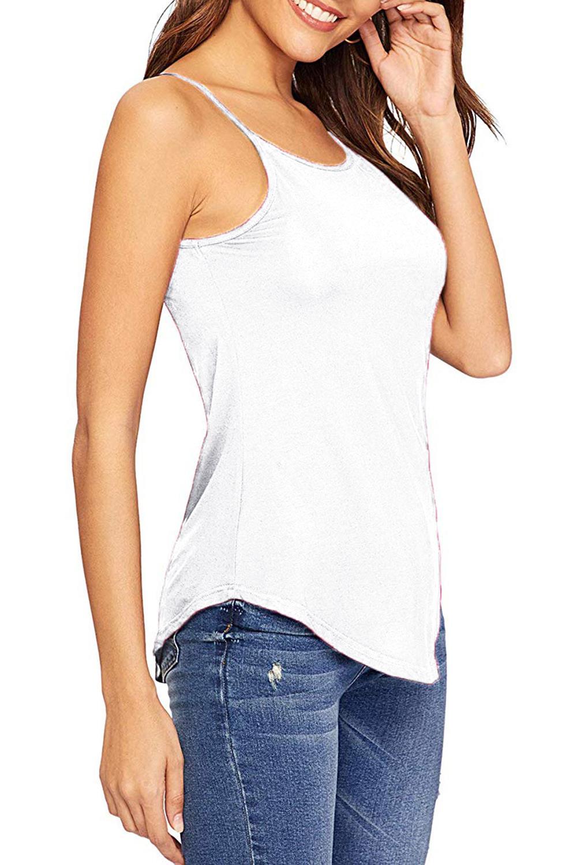 Senoras-para-mujer-normal-Camisola-Con-Correas-Sin-Mangas-Dobladillo-Curvo-Tanque-camiseta-Chaleco miniatura 12