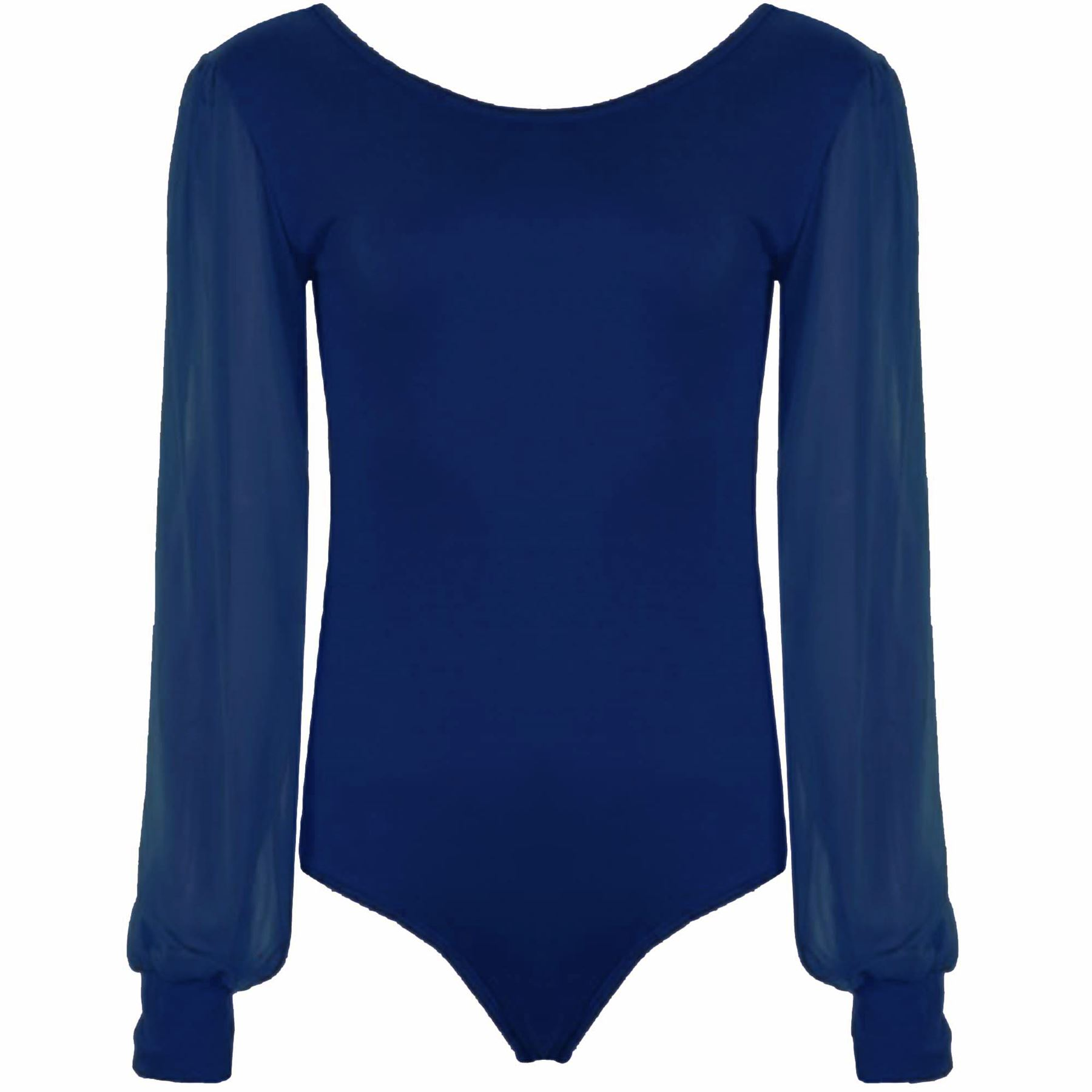 womens-Bodysuit-Chiffon-Sleeve-Leotard-Scoop-Neck-Long-Ladies-Sleeve-Size-8-22 thumbnail 4