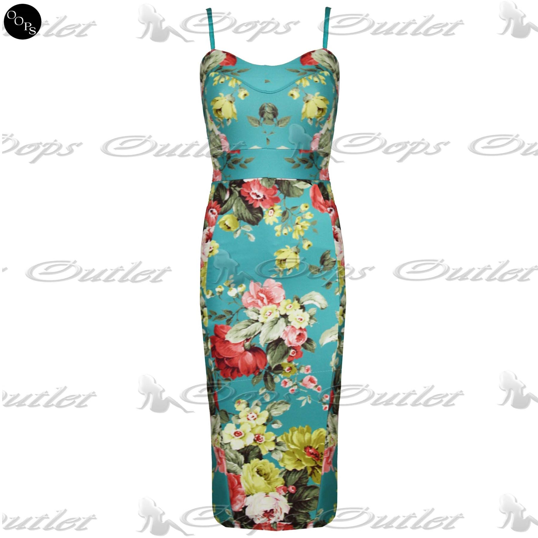 Womens Fitted Split Celebrity Ladies Floral Strappy Camisole Bodycon ... e238522da743