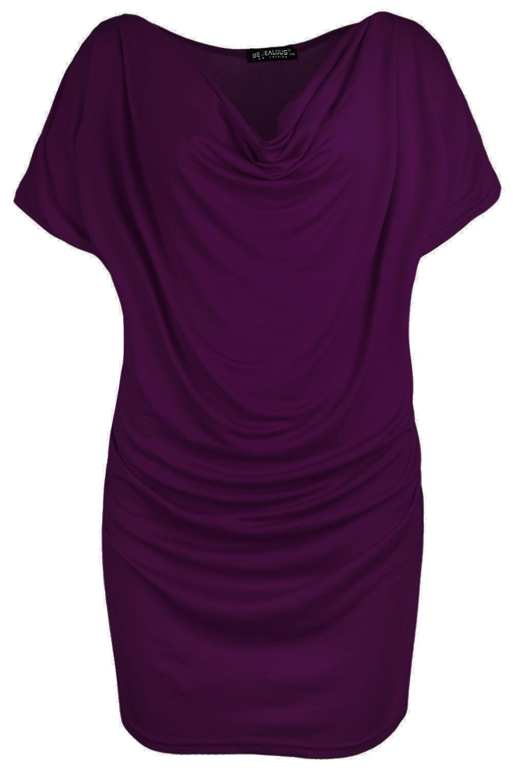Womens-Gathered-Cowl-Neck-Short-Sleeve-Ruched-Ladies-Vest-Stretchy-T-Shirt-Top