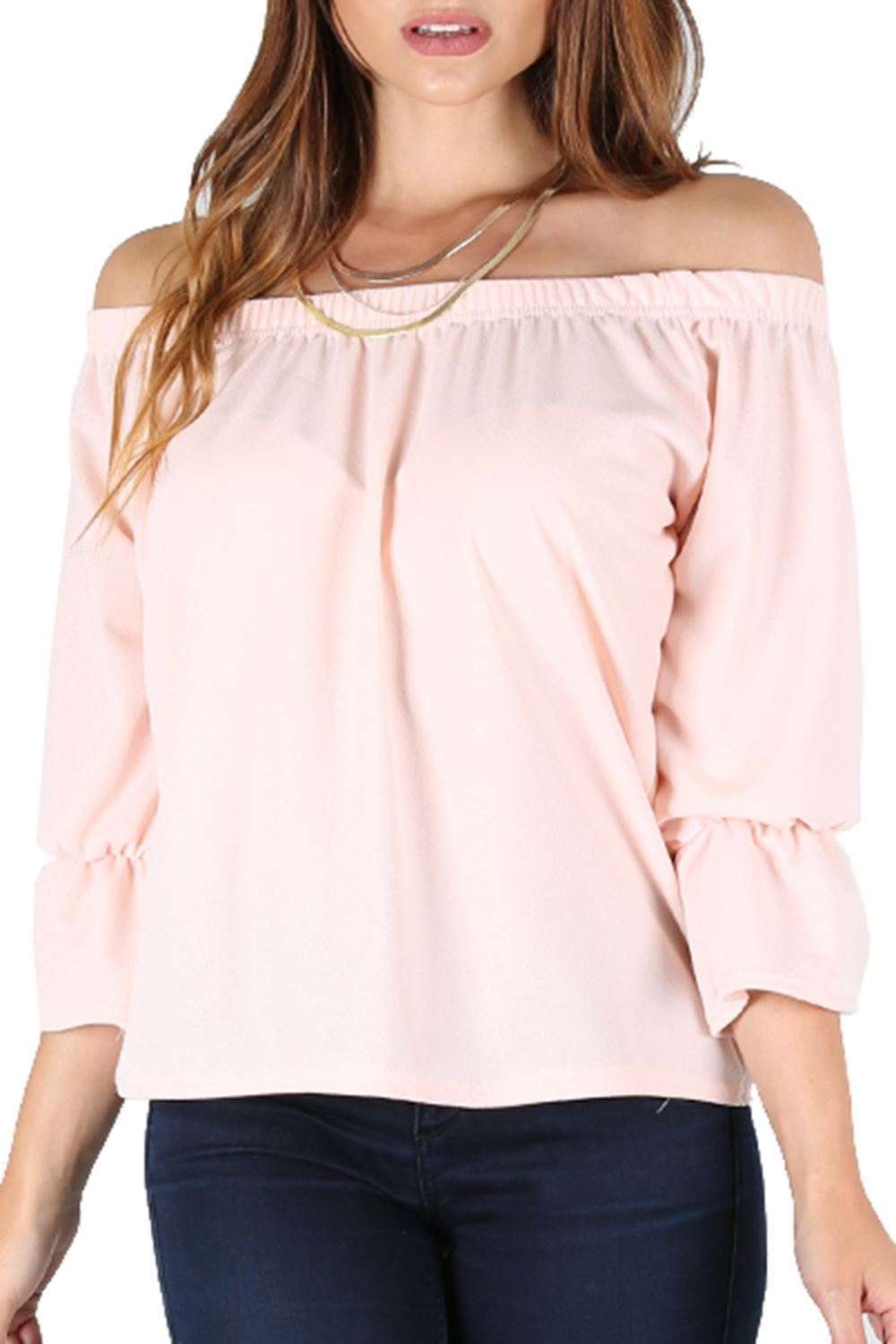 d962a118e2a Women Ruffle Bell Sleeve Baggy Ruched Bardot Ladies Off The Shoulder ...