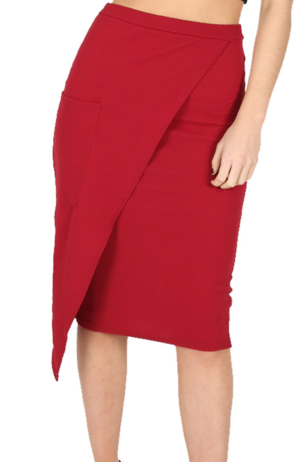 womens skirt asymmetric wrap front pocket