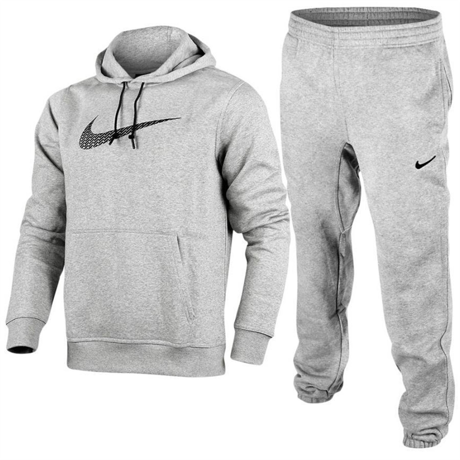 nike mens swoosh fleece overhead hoodie sweatshirt jogging bottom full tracksuit ebay. Black Bedroom Furniture Sets. Home Design Ideas