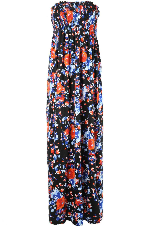 New Womens Ladies LEAF Print Sheering Gather Boobtube Bandeau Maxi Dress UK 8-22