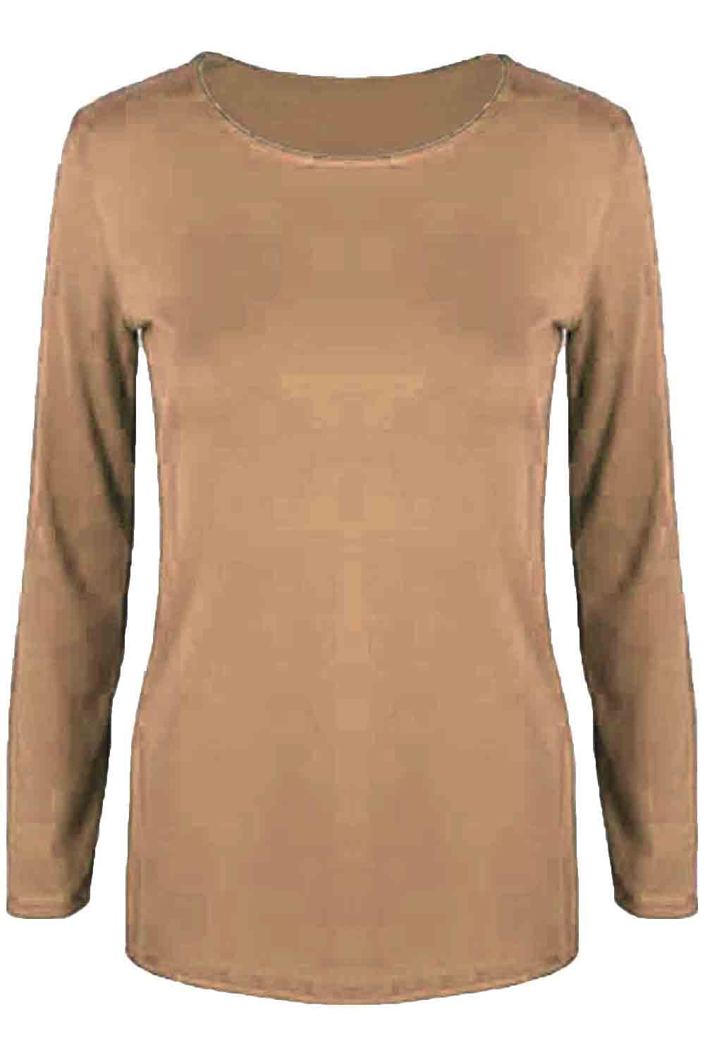 Womens T Shirt Ladies Plain Casual Long Sleeve Fit Round