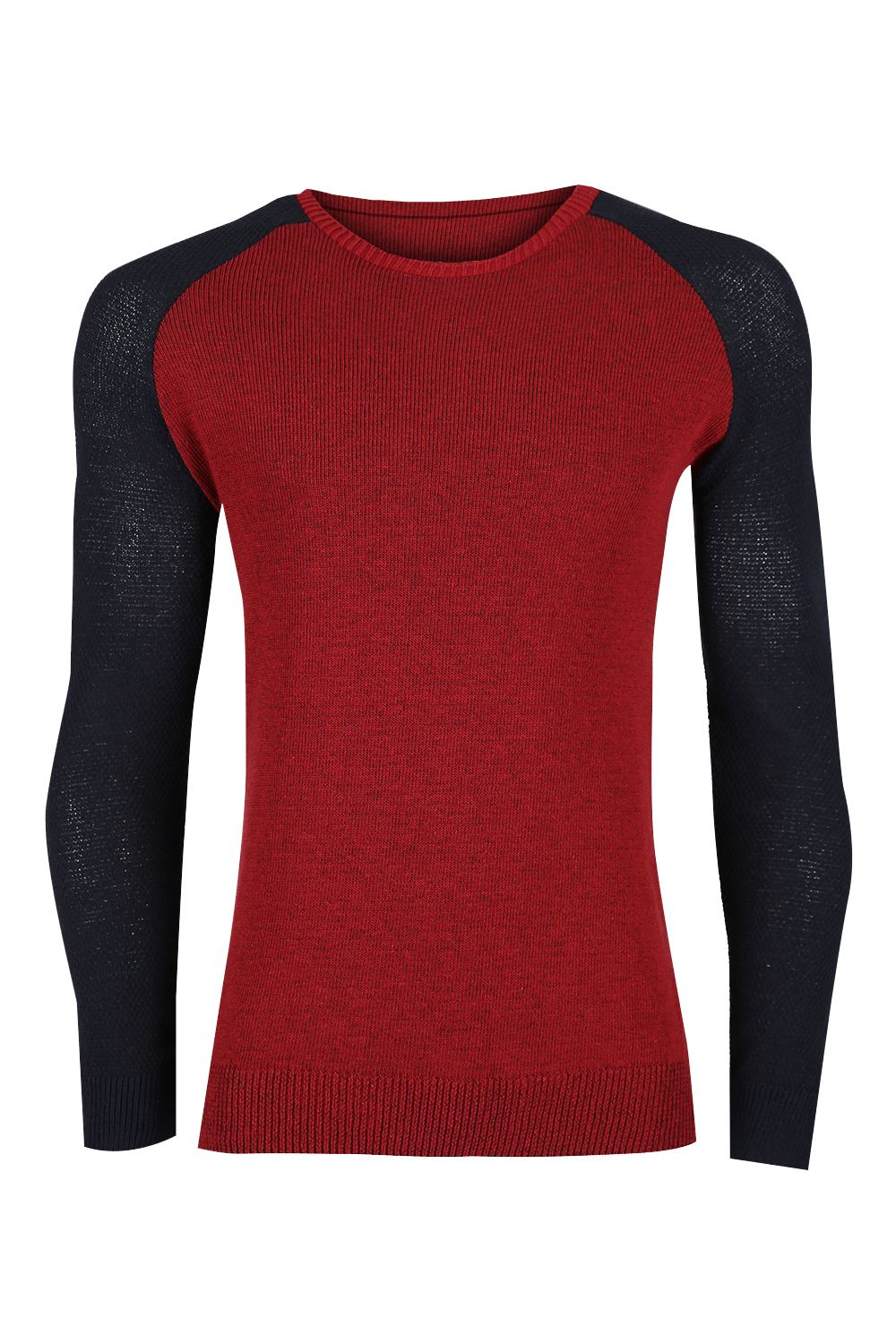Mens-Raglan-Contrast-Long-Sleeve-Ribbed-Cuff-Crew-Neck-Knitted-Pullover-Jumper