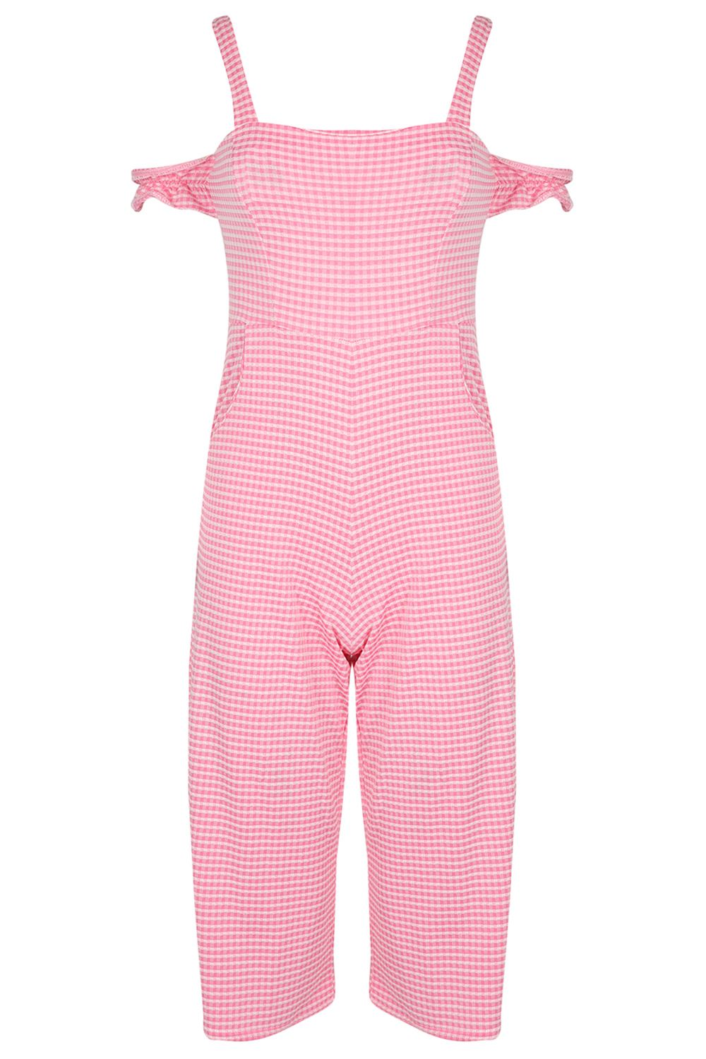 Womens-Ladies-Off-the-Shoulder-Bardot-Culotte-Gingham-Check-All-in-One-Jumpsuit