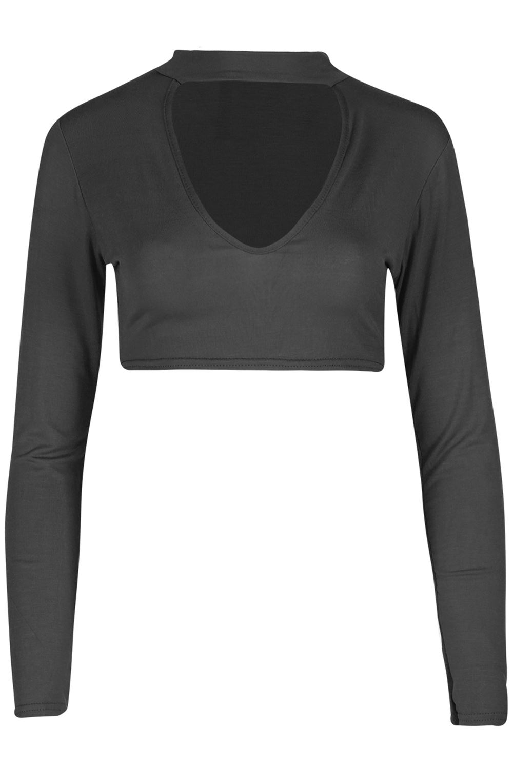 Womens Ladies Chocker V-Plunge Neck Stretch Long Sleeves Belly Bralet Crop Top