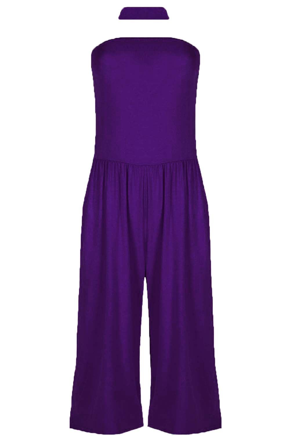 Womens-3-4-Playsuit-Ladies-Boob-Tube-Palazzo-Wide-Legs-Jumpsuit-All-In-One-Piece